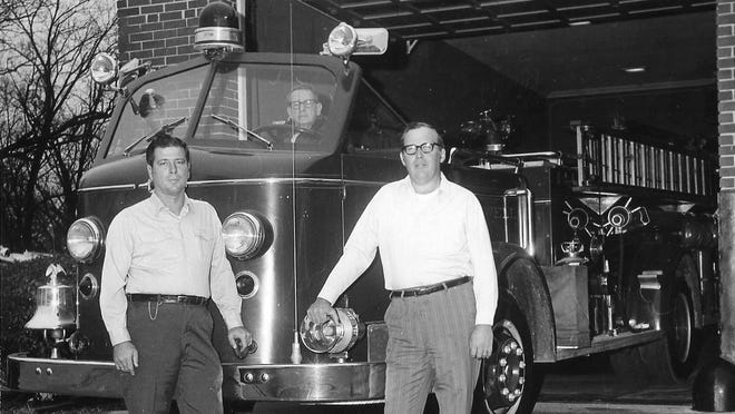 In March 1972 two of the lead volunteer firemen of the department were appointed as Chief and Assistant Chief by Barnwell City Council. Pictured left to right: Assistant Chief Lloyd Vickery Jr., Engineer Harper Ellis and Chief Horace Dicks Jr.