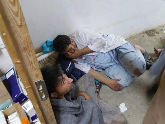 Injured Doctors Without Borders staff are seen Saturday