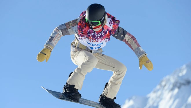 Shaun White during a training session on the hill at the second jump at Extreme Park in Krasnaya Polyana, Russia, on Tuesday.
