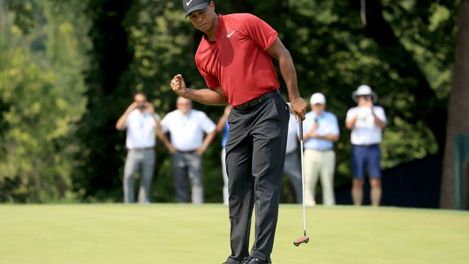 ST LOUIS, MO - AUGUST 12:  Tiger Woods of the United States celebrates a birdie on the ninth hole during the final round of the 100th PGA Championship at the Bellerive Country Club on August 12, 2018 in St Louis, Missouri.  (Photo by David Cannon/Getty Images)