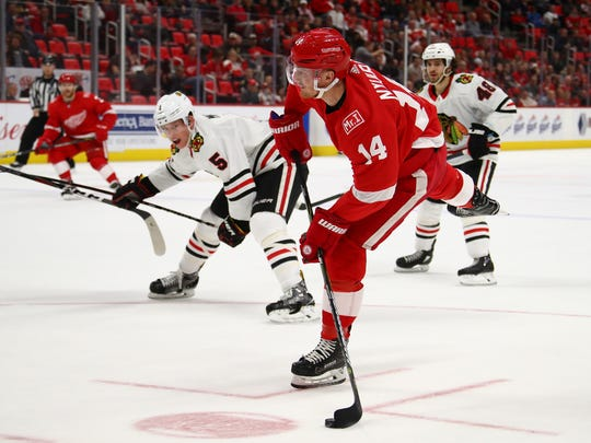 Gustav Nyquist takes a second-period shot against the Blackhawks on Thursday.