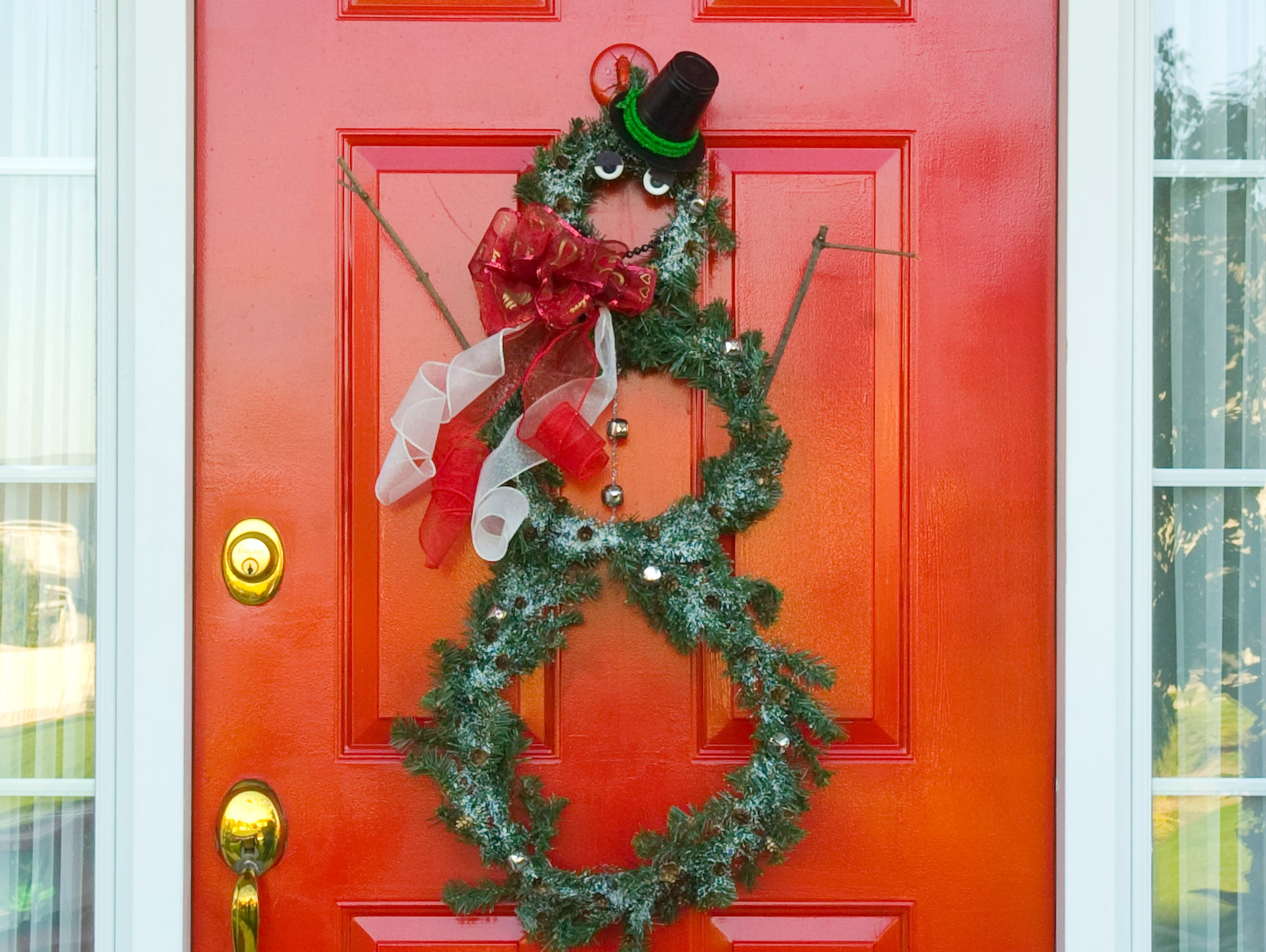 Add some holiday flair to your front door with this easy-to-make wreath.