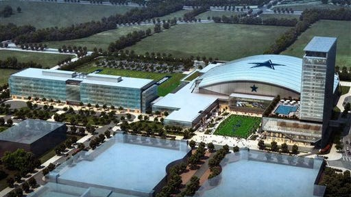 This preliminary rendering provided by The Dallas Cowboys shows the teams planned headquarters for Frisco, Texas. The Cowboys are partnering with Omni Hotels & Resorts to develop an upscale hotel on the site shown on the right with a pool. The 300-room hotel will be a key part of the mixed-use development going up around a 12,000-seat indoor stadium and teams practice facility.