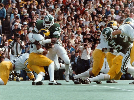 Carl Banks tackles a Michigan player in this undated photo.