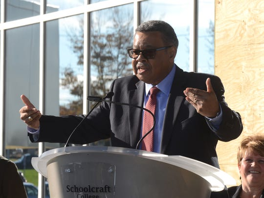 Conway Jeffress speaking in front of the Jeffress Center, which was dedicated to him in 2014.