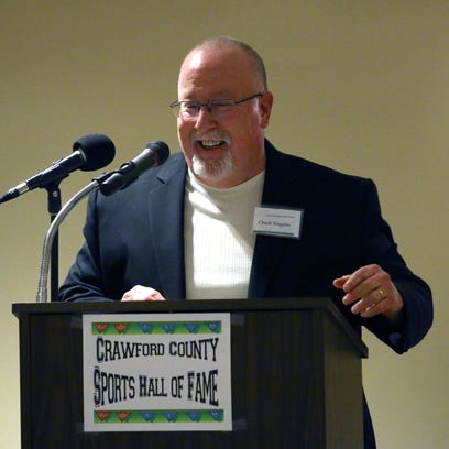 Chuck Huggins talks during the Crawford County Sports