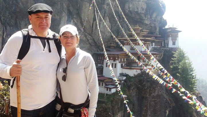 Patricia DiRoss Coughlin with her husband at the Taktsang