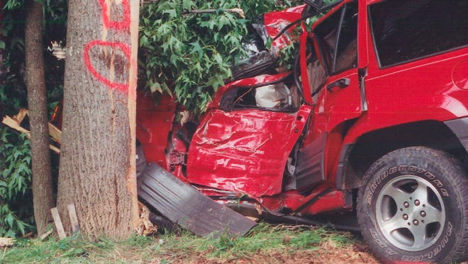 Sixteen year old Ashley Thompson died in this Jeep Cherokee that she was driving on June 10, 2003.