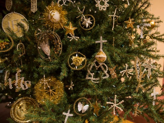 The Christmas tree at Bethel United Church of Christ is covered with more than 150 handmade Chrismon ornaments on Friday morning.