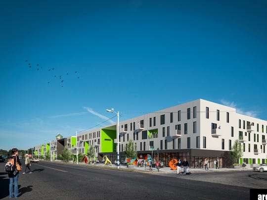 The mixed-use plan for 414 apartments would activate
