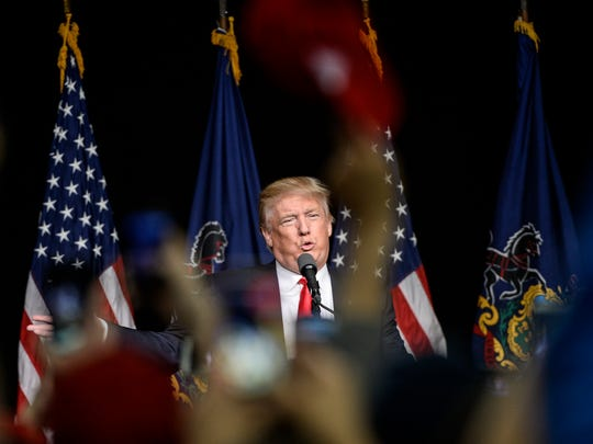 Donald Trump at his campaign rally at the Pennsylvania Farm Show Complex in Harrisburg on April 21, 2016. He is seeking the Republican nomination in the presidential primary election.
