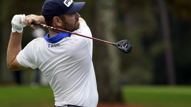 Louis Oosthuizen tees off on No. 3 during Thursday's first round of the Masters Tournament. The two-time runner-up shot 68 to be on the first page of the leaderboard.