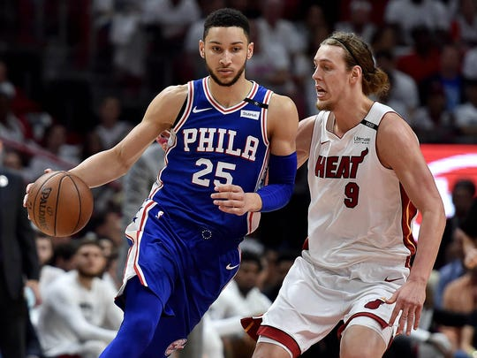 76ers guard Ben Simmons (25) is guarded by Heat forward Kelly Olynyk. Simmons was spotted this weekend with Kendall Jenner at the Cherry Hill Mall.