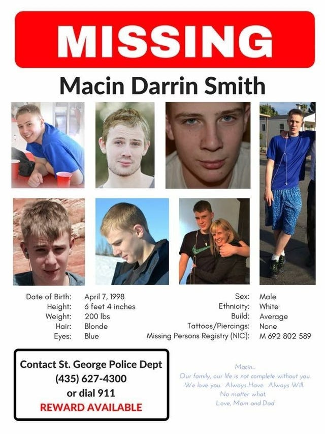 Macin Smith still missing, with no hot leads, more than 2 5