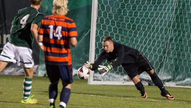 Binghamton University goalkeeper Robert Moewes was named America East Conference Goalkeeper of the Year as a sophomore.