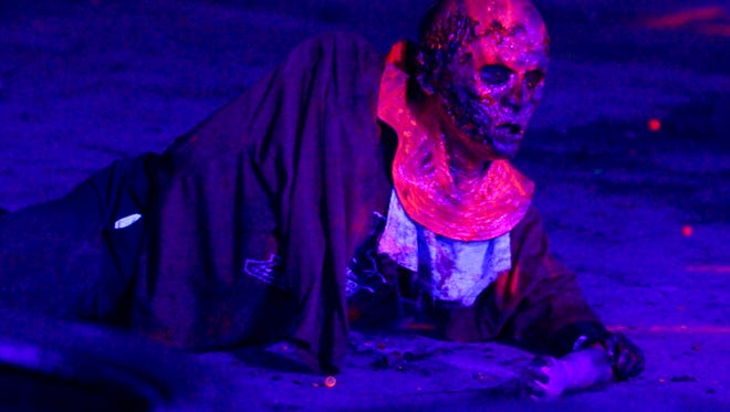Extreme Rage Paintball Park of Fort Myers has a special event  Friday and Saturday Nights (8pm to Midnight) between October 2nd and October 24th, called Zombie Outbreak where you can sit at mounted paintball machine-guns and fire glowing tracer rounds at live zombies. The park built the 2-acre field scene and the actors dressed as zombies have special protective ware to take the hit of the paintballs.