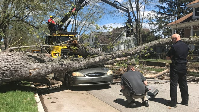 The car was traveling west on Pardee, just before W. Outer Drive in Dearborn on Friday, May 4, 2018 when a tree fell on the car.