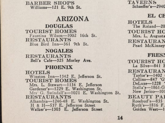 In the entry for Phoenix in 1948, you could find one hotel: Winston Inn, 1342 E. Jefferson St., followed by three tourist homes: Mrs. L. Stewart, 1134 E. Jefferson St.; Gardener's, 1229 E. Washington St.; Mrs. G. Swindall's, 1021 E. Washington St. They were followed by similar entries for restaurants, beauty parlors and other services.