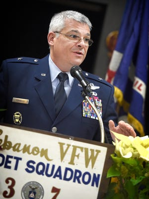 Pennsylvania Air National Guard deputy adjutant Brig. Gen. Anthony J. Carrelli addresses the cadets of Civil Air Patrol Squadron 307 at their banquet Jan. 7, 2016, at the Lebanon VFW on Chestnut St., Lebanon. The Civil Air Patrol has become  an arm of the U.S. Air Force.