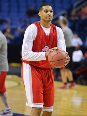 Ohio State Buckeyes forward LaQuinton Ross (10) warms up during practice before the second round of the 2014 NCAA Tournament at First Niagara Center on March 19.