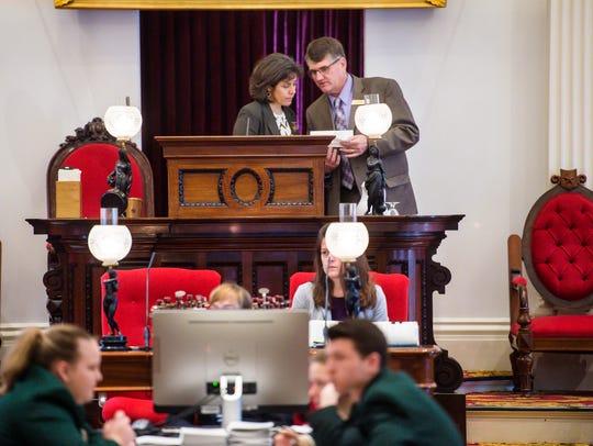 Speaker of the House Mitzi Johnson, D-South Hero, left,