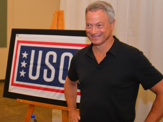 Gary Sinise talked to the media before performing with his Lt. Dan Band on Sept. 27, 2017, at the King Center in Melbourne. Gary Sinise and the Lt. Dan Band performed a free show for Patrick Air Force Base families, in conjunction with the USO.