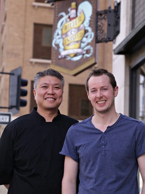 Bob Tam (L) and Ross Simon, co-owners of Bitter and Twisted Cocktail Parlour in Phoenix.