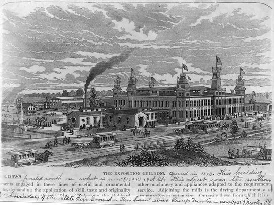 The Exposition Building opened in 1873 at the State Fairgrounds on land that is now Morton Place.