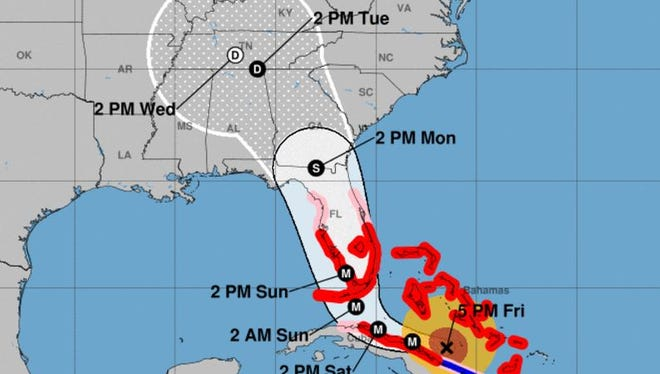 Forecast cone for Hurricane Irma at 8 p.m. Friday, Sept. 8, 2017.