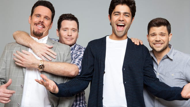 "Kevin Dillon, left, Kevin Connolly, Adrian Grenier and Jerry Ferrara, the stars of ""Entourage."""