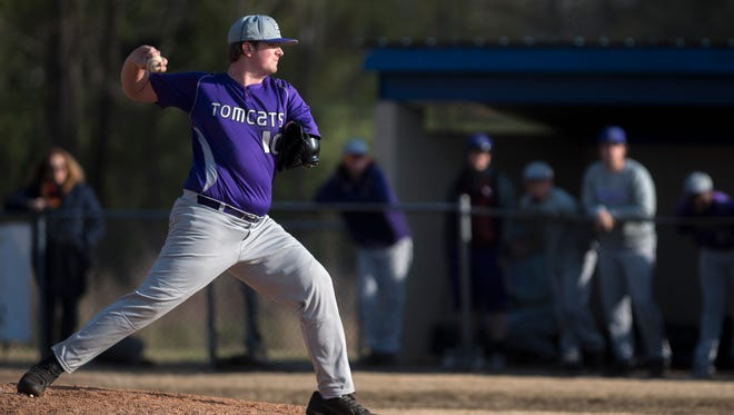 Landon Wilson pitches against Fayette-Ware on Tuesday, April 9, 2018, during Haywood's 16-2 win against Fayette-Ware at Fayette-Ware High School in Somerville.