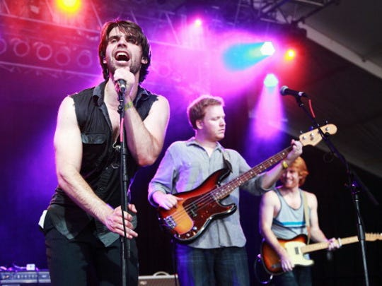 Musicians James Trimble, Justin Hoskins and Michael Jenkins of The Dirty Guv'nahs perform onstage at This Tent during Day 1 of Bonnaroo 2012 on June 7, 2012 in Manchester, Tennessee.