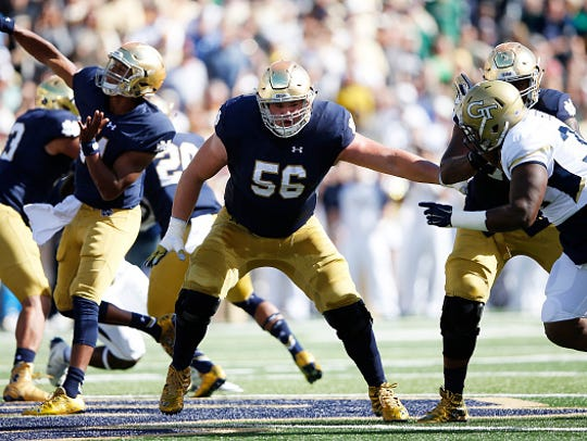 Holmdel's Quenton Nelson (56), Notre Dame's starting