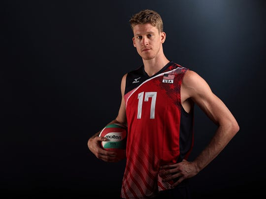 Max Holt of the USA men's indoor volleyball team poses for a portrait at the American Sports Center on May 24, 2016 in Anaheim, California.