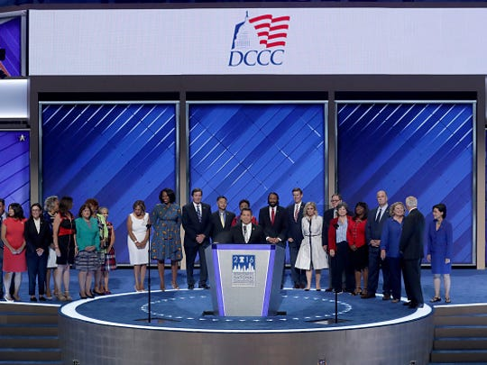 U.S. Rep. Ben Ray Luján (D-NM), DCCC chairman, delivers remarks at the Democratic National Convention.