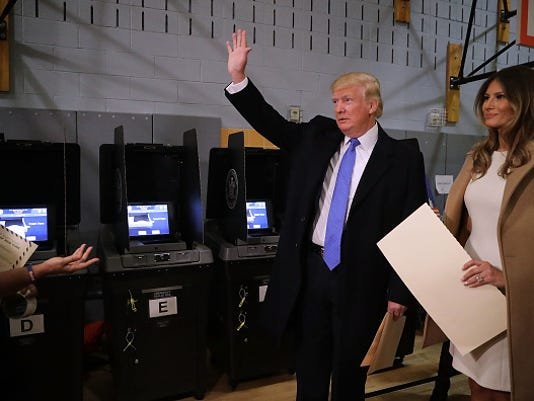 GOP Nominee Donald Trump Casts His Vote In The 2016 Presidential Election