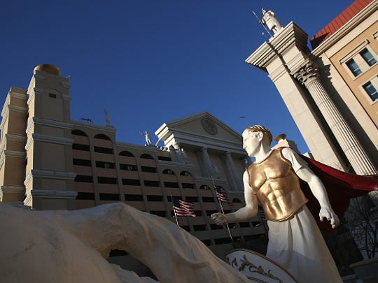 An iconic statue adorns the front Caesars Atlantic