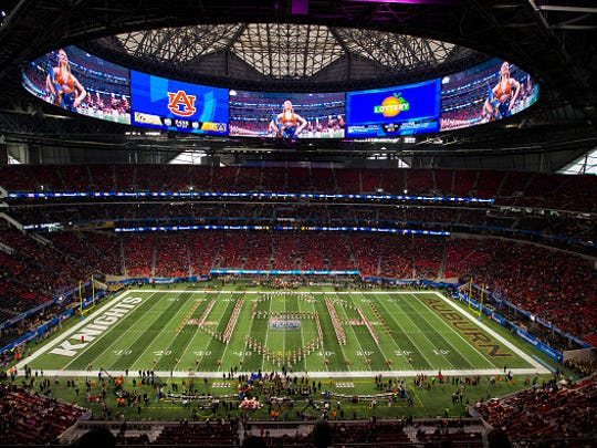 Auburn's band performs before the 2017 Peach Bowl.
