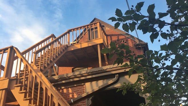 The Vertigo stairs at Dana McMahan's Airbnb in Old Louisville.