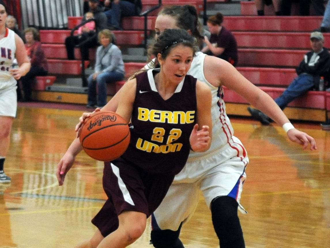Berne Union's Lauren Shephard drives the ball down the court against a Zane Trace player Friday at Zane Trace High School.