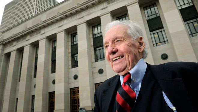 John Jay Hooker in front of the Tennessee State Supreme Court building in 2012 in Nashville.