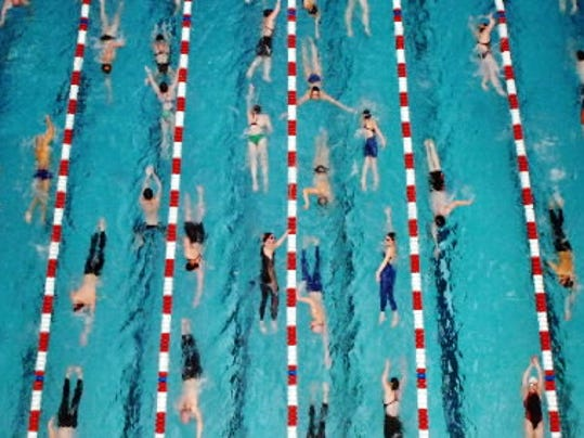 Great shot by Daily Record photographer Jason Plotkin, taken from high above the Cumberland Valley pool during warmups prior to the 2009 district championships.