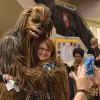 Elizabeth Drury was thrilled to meet Chewbacca during Jedi Training Academy at the Gallatin Public Library.