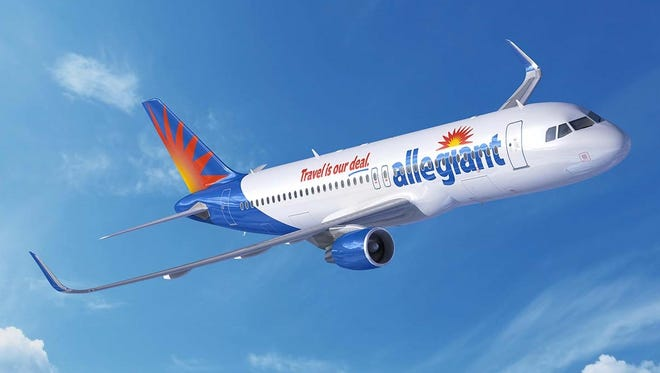 This rendering provided by Airbus shows an A320 narrowbody jet in the color of Allegiant Air.