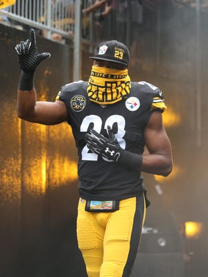 Oct 8, 2017; Pittsburgh, PA, USA; Pittsburgh Steelers free safety Mike Mitchell (23) gestures as he takes the field against the Jacksonville Jaguars at Heinz Field. The Jaguars won 30-9. Mandatory Credit: Charles LeClaire-USA TODAY Sports