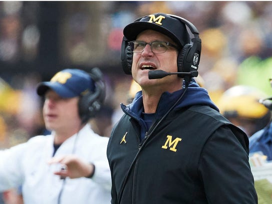 Michigan coach Jim Harbaugh on the sideline during