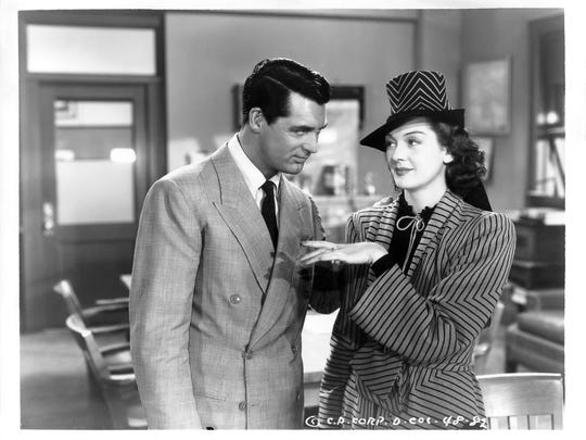 "The classic ""His Girl Friday"" (1940) stars Cary Grant and Rosalind Russell."