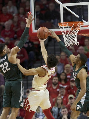MSU harrassed Tai Webster enough and hit enough shots to beat the Huskers comfortably in the first meeting, on Feb. 2 in Lincoln. Nebraska and MSU meet again tonight at Breslin.