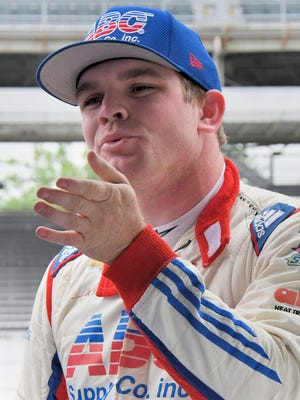AJ Foyt Racing IndyCar driver Conor Daly (4) during practice for the Indianapolis 500 Saturday, May 20, 2017, morning at the Indianapolis Motor Speedway.