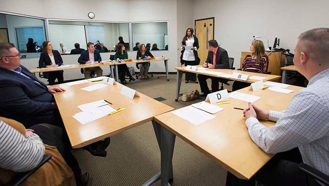 Adult students returning to college take part in presentations and discussions on workplace topics while participating in Lipscomb's CORE assessment program.